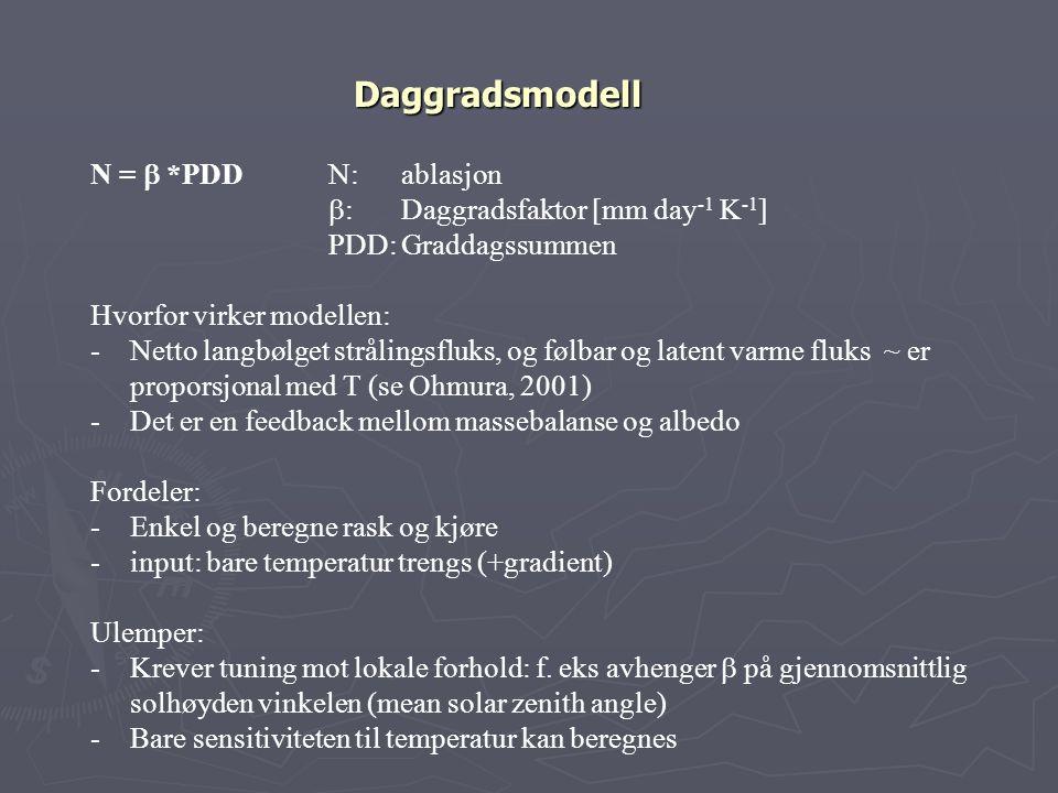 Daggradsmodell N = b *PDD N: ablasjon b: Daggradsfaktor [mm day-1 K-1]